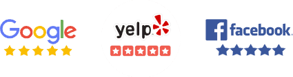 Google, Yelp, and Facebook logos with stars below